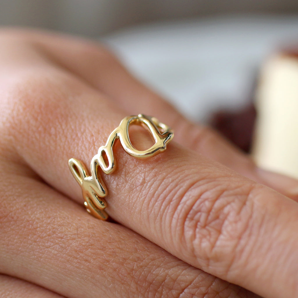 18k Solid Gold Personalized Name Ring, Custom Name Ring, Custom Jewelry, unique gift ideas, Cacus Jewelry