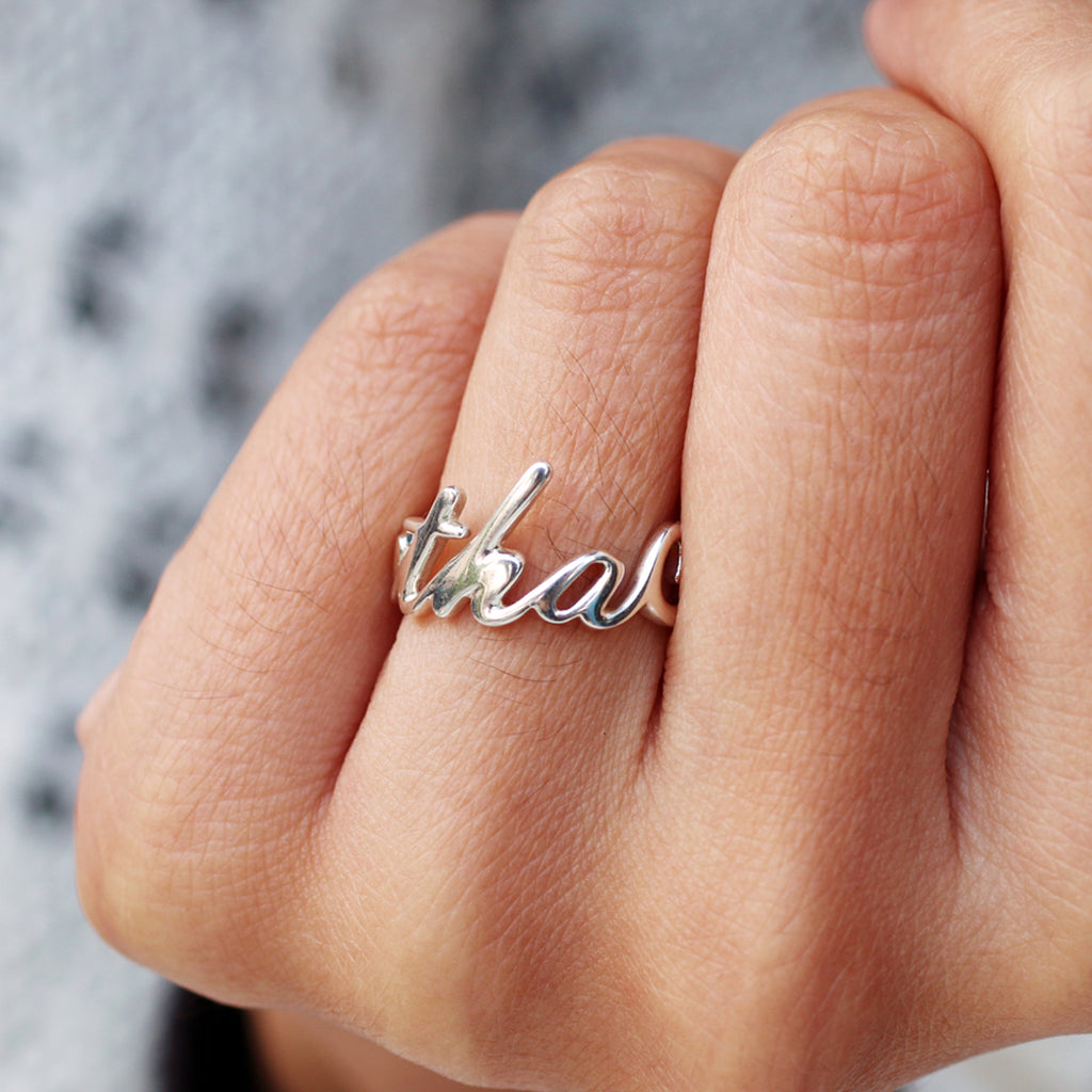 Custom Jewelry, Silver Custom Name Ring, Name Ring, unique birthday gift, Cacus Jewelry