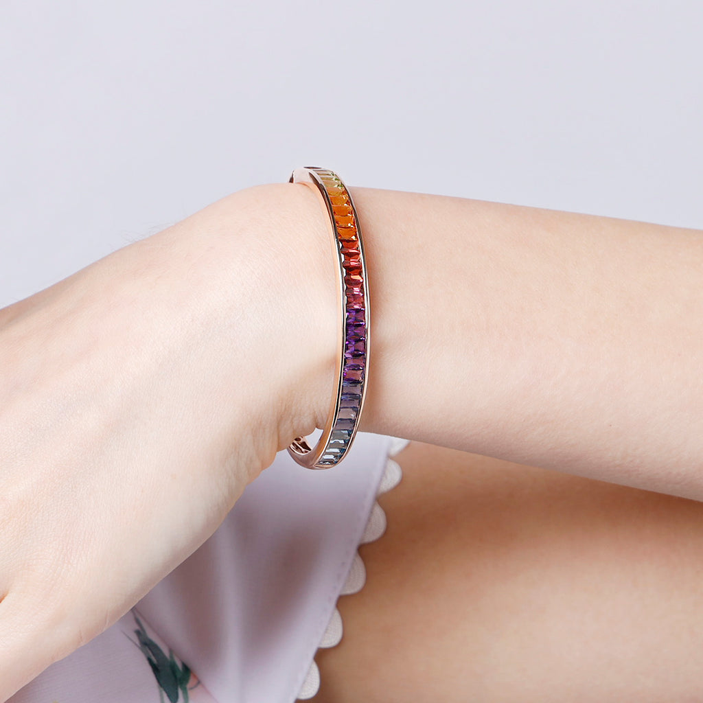14K Rose Gold Rainbow Gemstones Bangle Cacus Jewelry