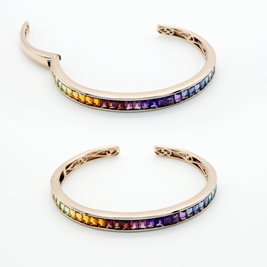 14K Rose Gold Rainbow Gemstones Bangle by Vulcan Jewelry