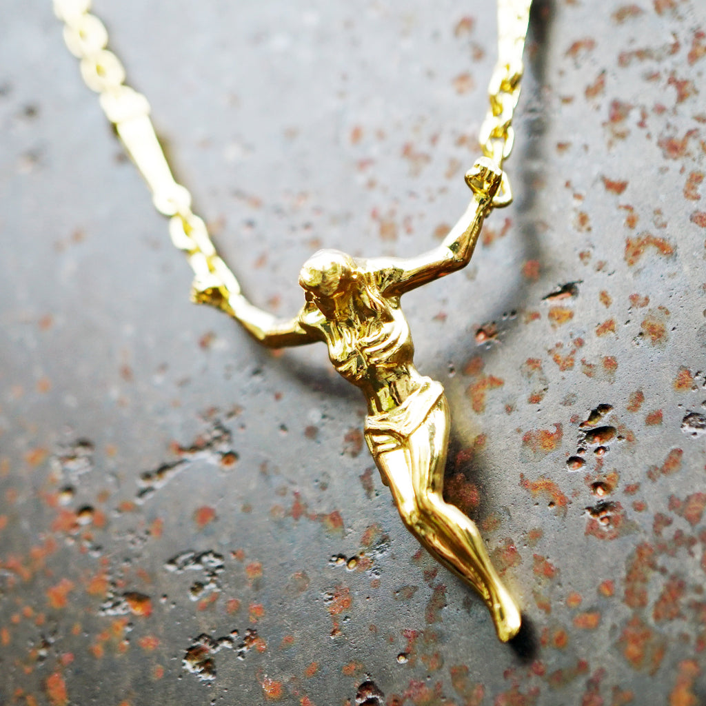 Silver/14k Solid Gold Surrealist Crucifix Necklace, Cross Sculpture, Gold jewelry, Floating Jesus pendant, Christ Saint John, Vulcan Jewelry, Cacus Jewelry