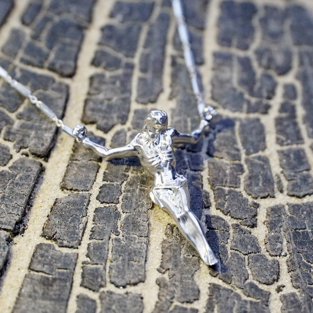 Silver Crucifix Necklace with Plainer Chain by Vulcan Jewelry
