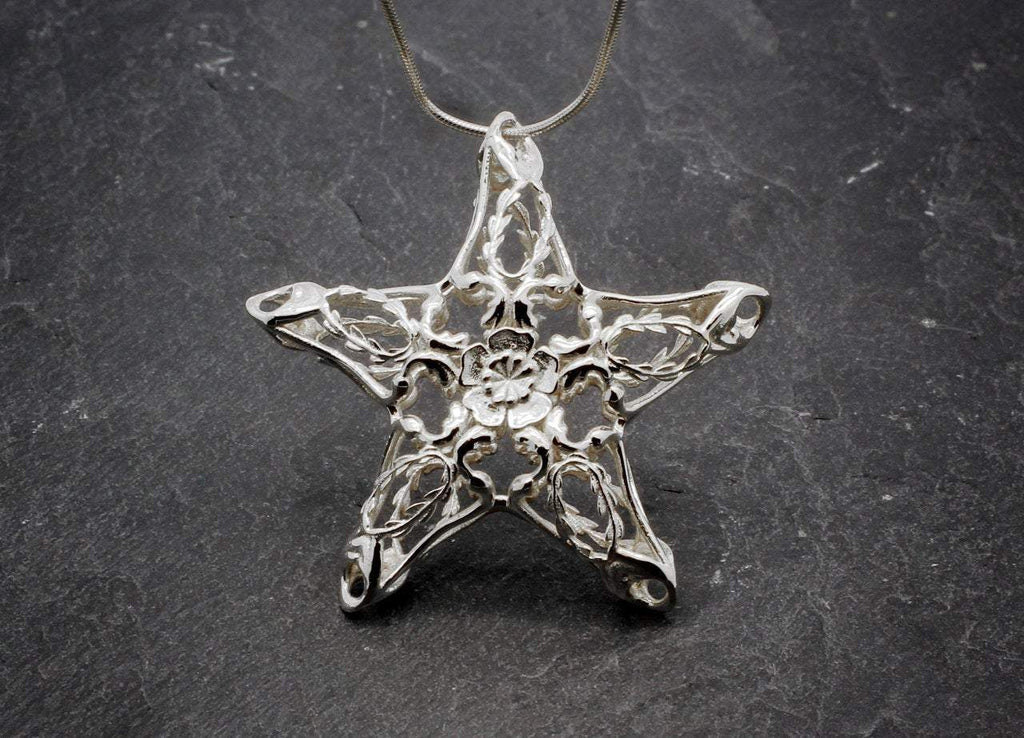 Silver Starfish Art Nouveau silver necklace