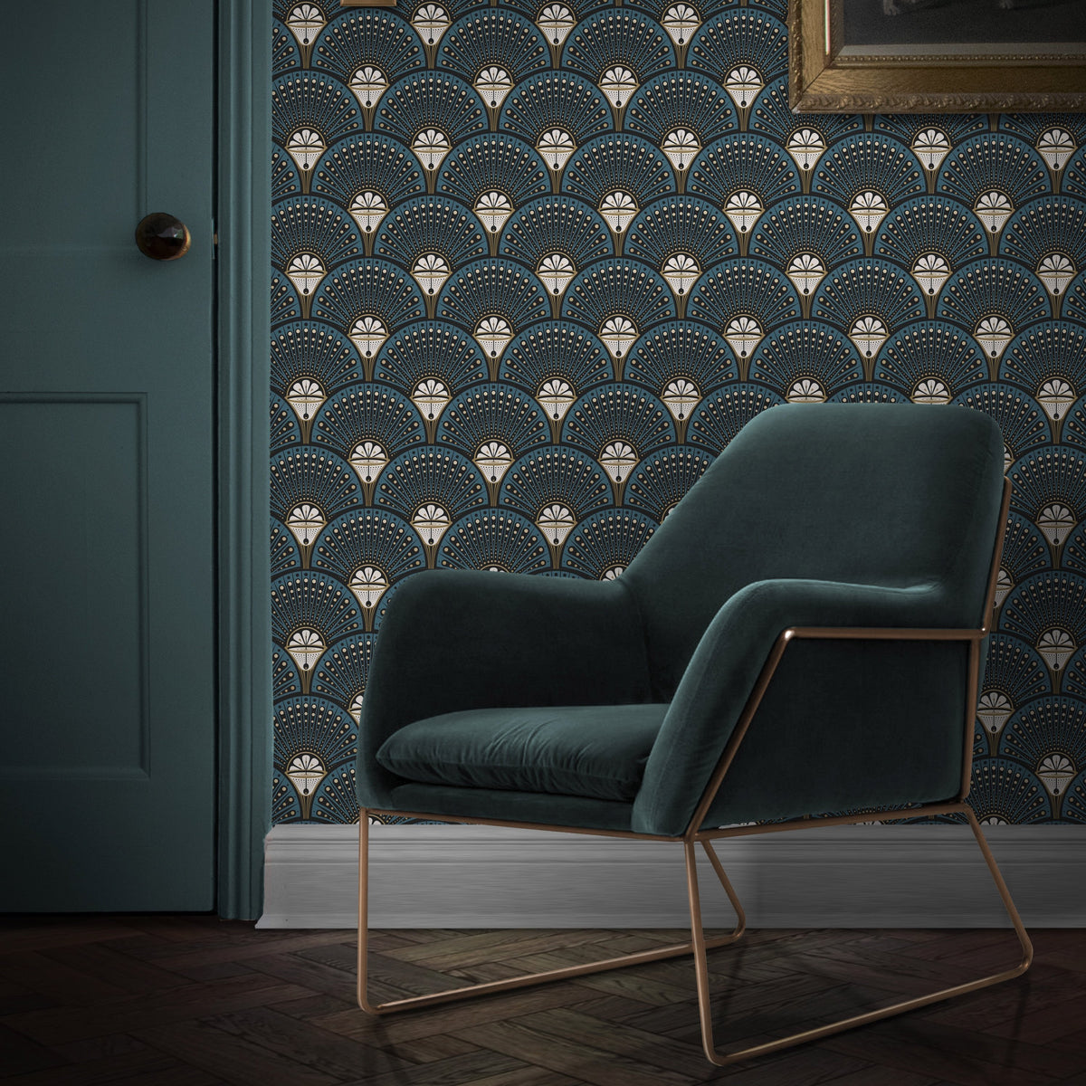 The Joyful Home Company WALLPAPER Deco Martini Teal Wallpaper by Divine Savages