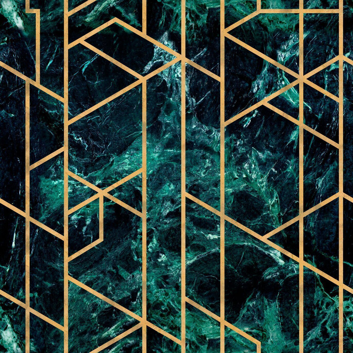 The Joyful Wallpaper Company WALLPAPER 1 Box of 1 Roll Gramercy Emerald Metallic Edition Wallpaper by Mind The Gap