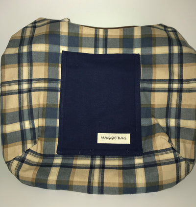 Blue and Tan Plaid Large Maggie Bag