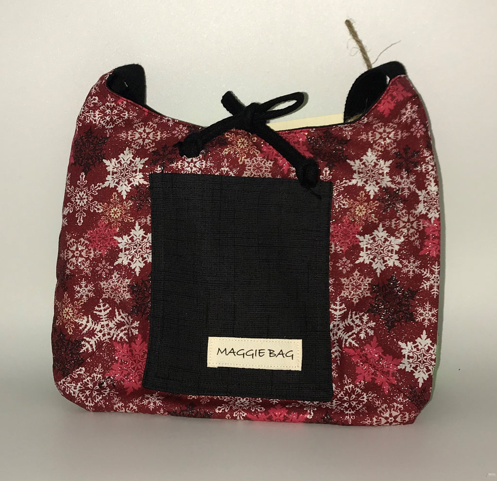 Snowflake Burgundy and Black Sparkle Maggie Bag Trio Package