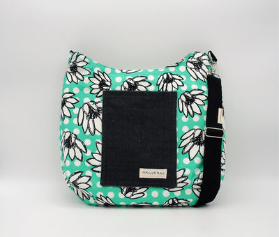 Teal and White Lily Maggie Bag