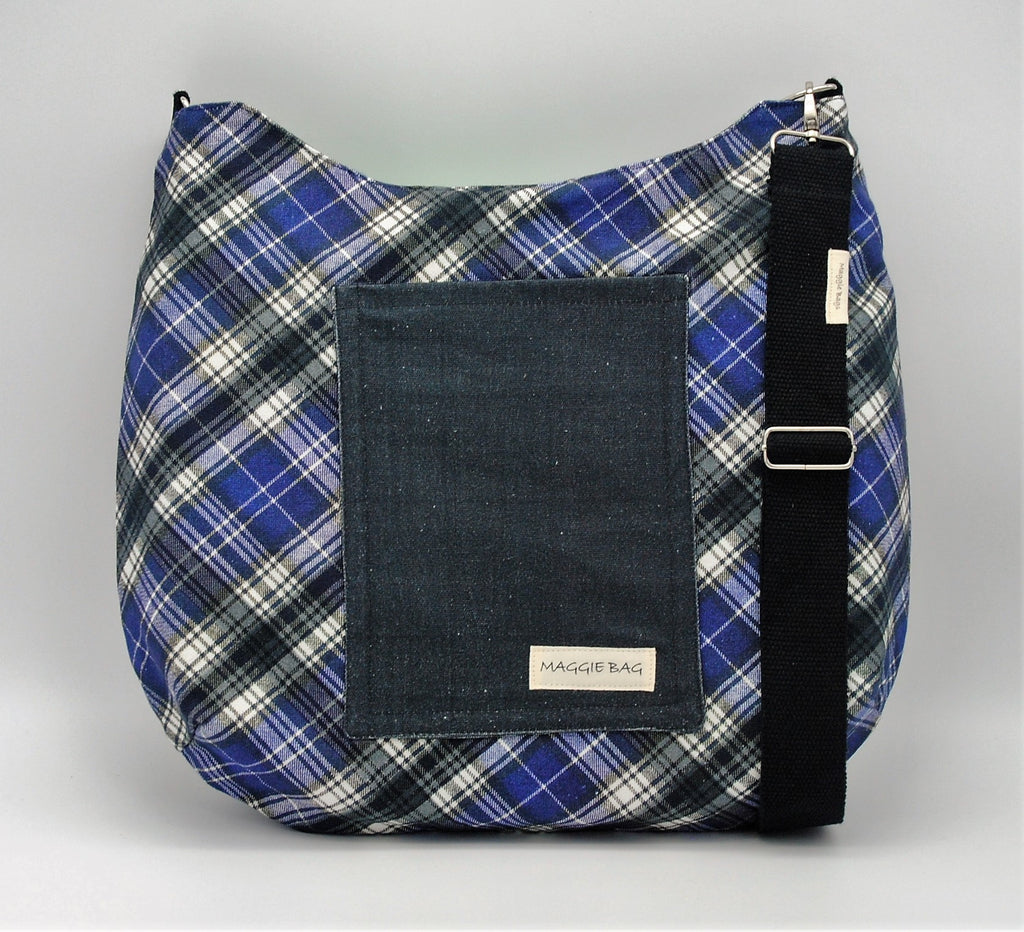 Blue Plaid Maggie Bag (Reversible)