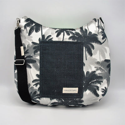 Black and White Palm Tree Maggie Bag (Reversible)