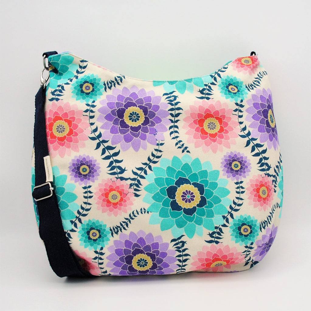 Coral and Lavender Floral Maggie Bag (Reversible)