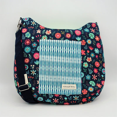 Blue and Coral Floral Maggie Bag (Reversible) - APRIL BAG OF THE MONTH!!!!