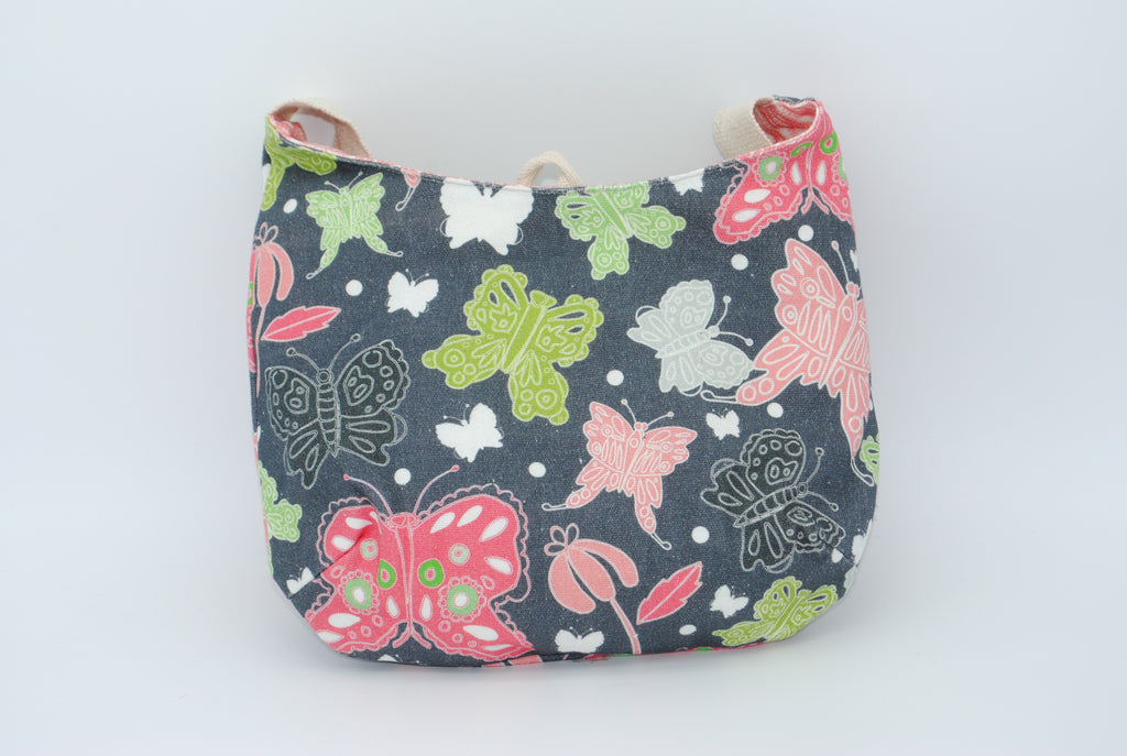 Gray, Green and Coral Butterfly Mini Maggie Bag