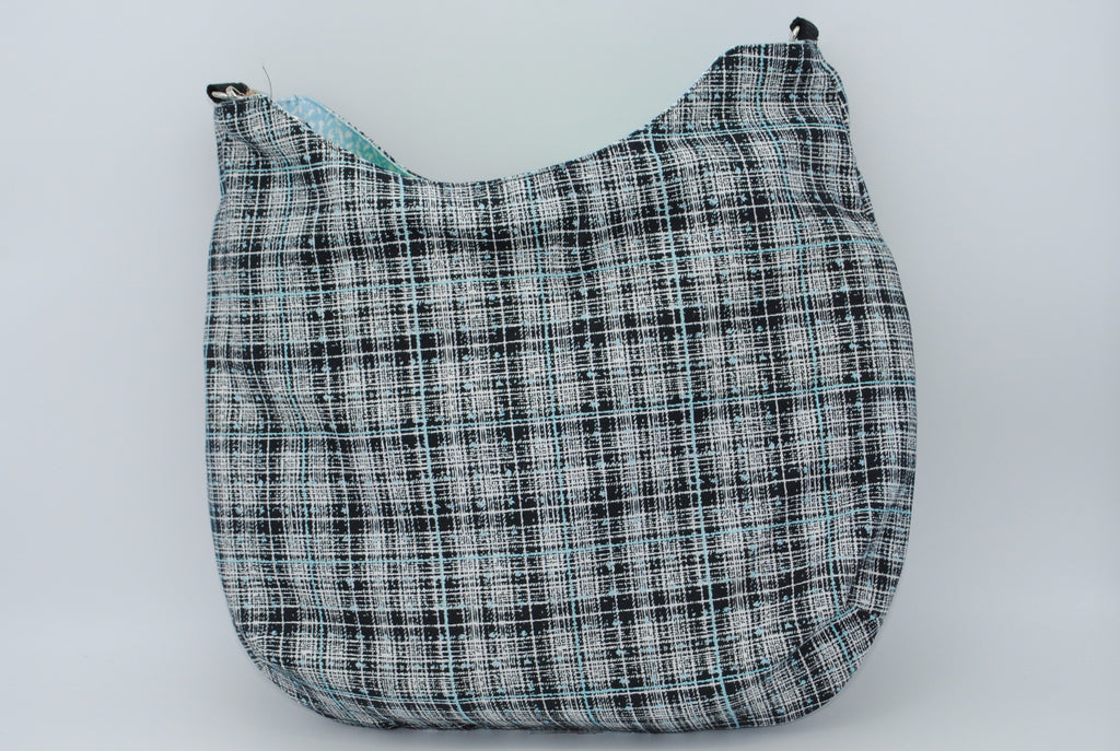 Black and Robin Egg Blue Tweed Large Maggie Bag