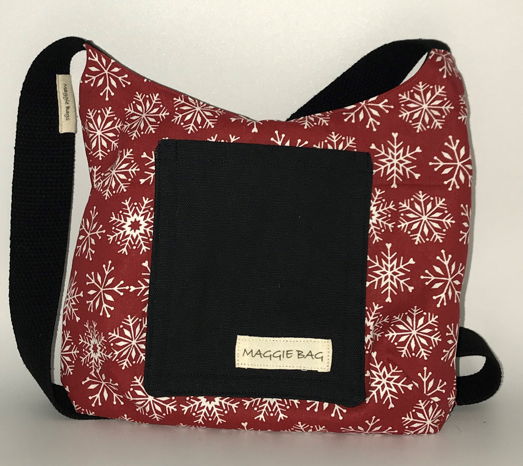 Snowflakes Red, White and Black Mini Maggie Bag