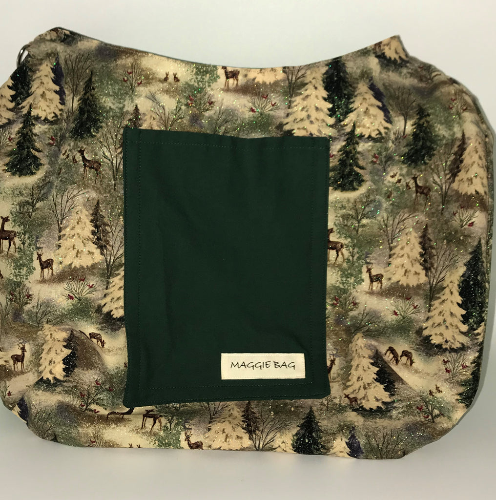 Deer Sparkle with Christmas Green Large Maggie Bag