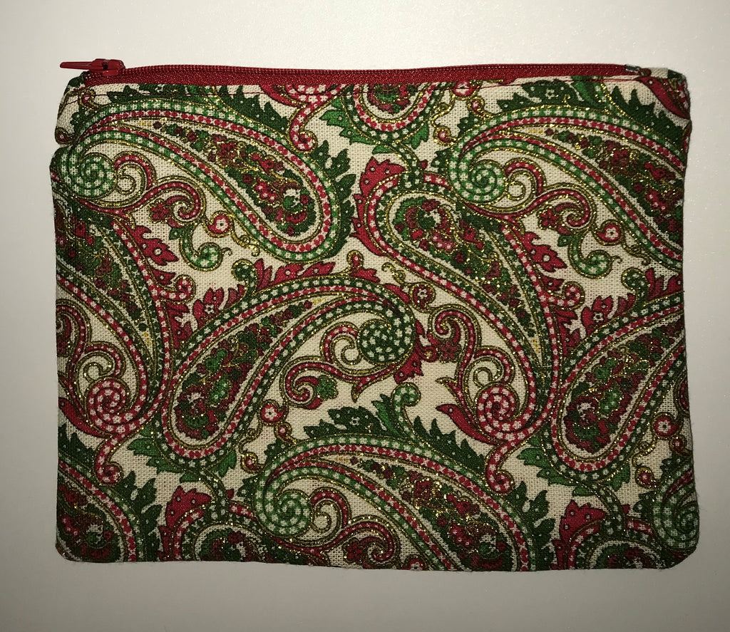 Maggie Bag Green, Red, and Gold Paisley Christmas Zipper Pouch