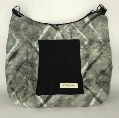 Black and Gray Trellis Large Maggie Bag