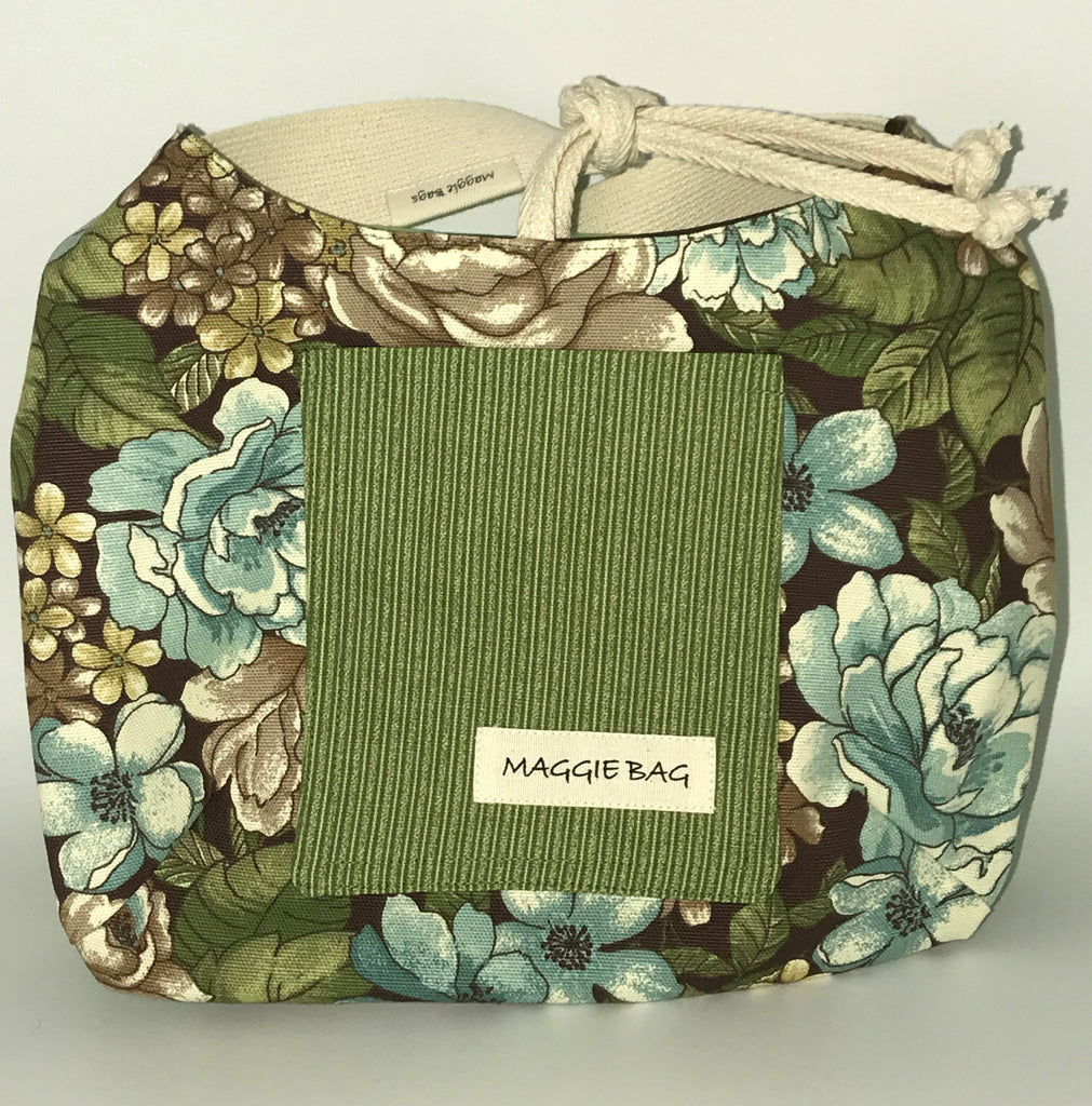 Sage Green And Brown Floral Mini Maggie Bag
