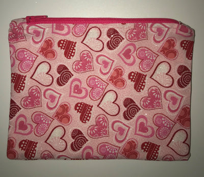 Maggie Bag Zipper Pouch - Pink Hearts