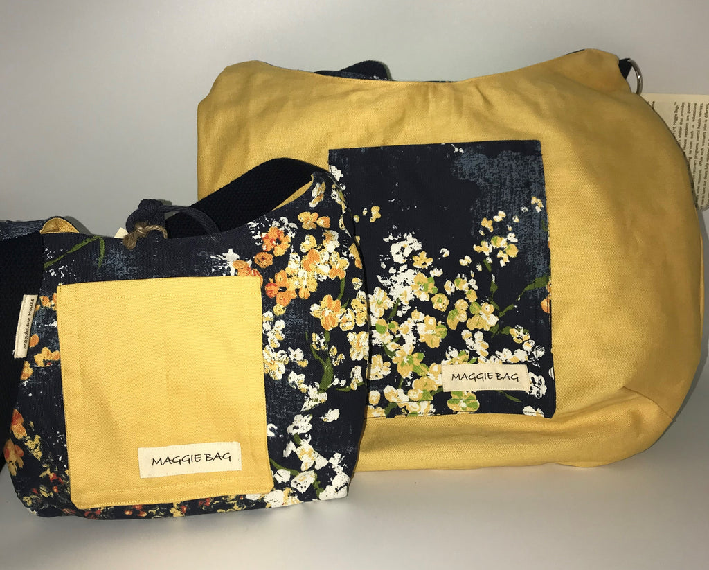 Navy and Gold Floral Large Maggie Bag