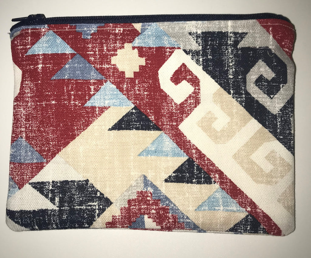 Maggie Bag Zipper Pouch - Red and Blue Aztec