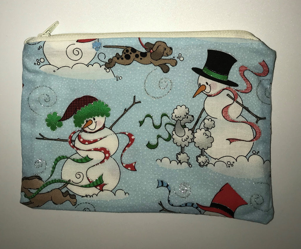 Maggie Bag Light Blue Snowman Zipper Pouch