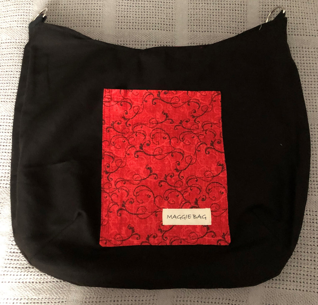 Red and Black Swirl Christmas Large Maggie Bag