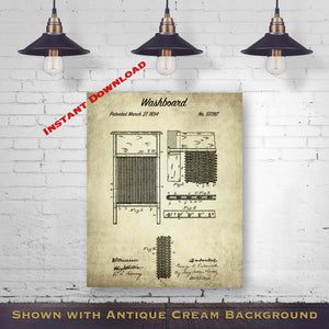 1894 Washboard Printable Patent Print - Laundry Room Decor - Housewarming Gift - Printable Download - Digital Download Design - Laundry Patent Prints