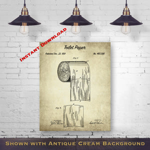 Bathroom Art Prints - Bathroom Wall Decor - 1891 Toilet Paper Printable Patent Print - Bathroom Decor - Lavatory Gift Art - Printable Download - Digital Download Patent