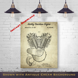 Harley Motorcycle Printable Patent Print - Gift For Biker - Antique Wall Decor - Printable Download - Digital Download Patent