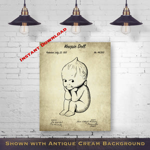 1913 Kewpie Doll Printable Patent Print - Antique Nursery Gift - Last Minute Gift - Printable Download - Digital Download Patent - Collectable Doll Art