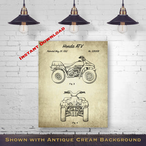 1992 Honda ATV Printable Patent Print - Retro Quad Blueprint - Four Wheeled Vehicle - Printable Download - Digital Download Patent