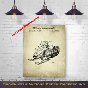 Ski-Doo Snowmobile Printable Patent - Motor Sled Blueprint - Vintage Snowmachine - Printable Download - Digital Download