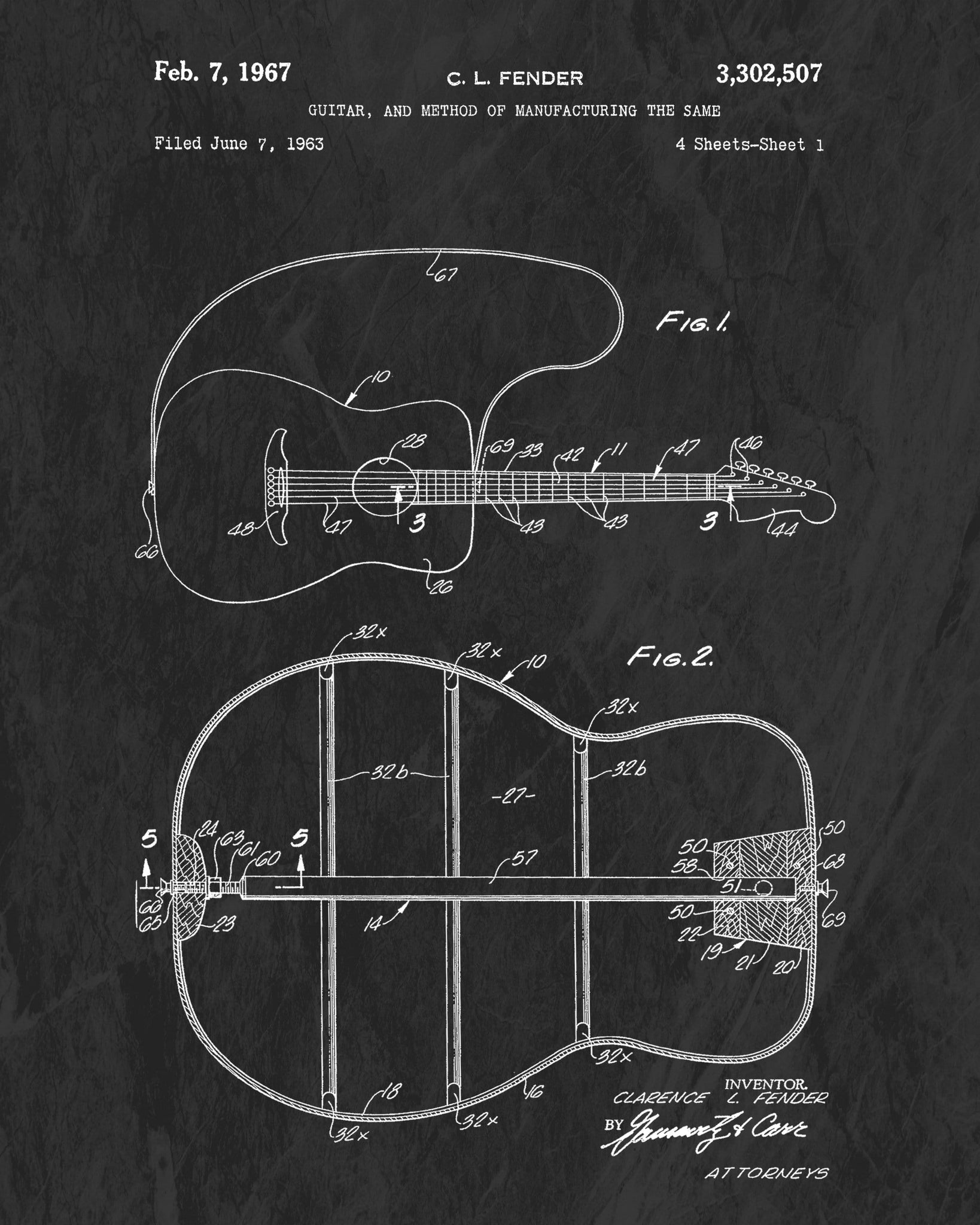 1967 Fender Acoustic Guitar Patent Art Print (Original Title)