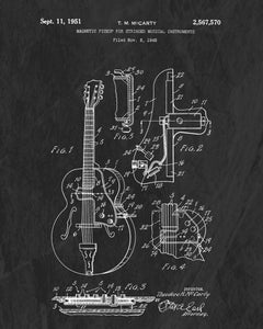 1951 Gibson Guitar Patent Art Print (Original Title)