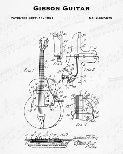 1951 Gibson Guitar Patent - 8X10 Digital Download Patent