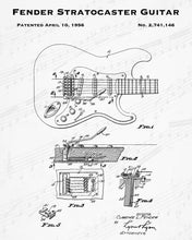 1956 Fender Stratocaster Guitar Patent - 8X10 Digital Download Patent