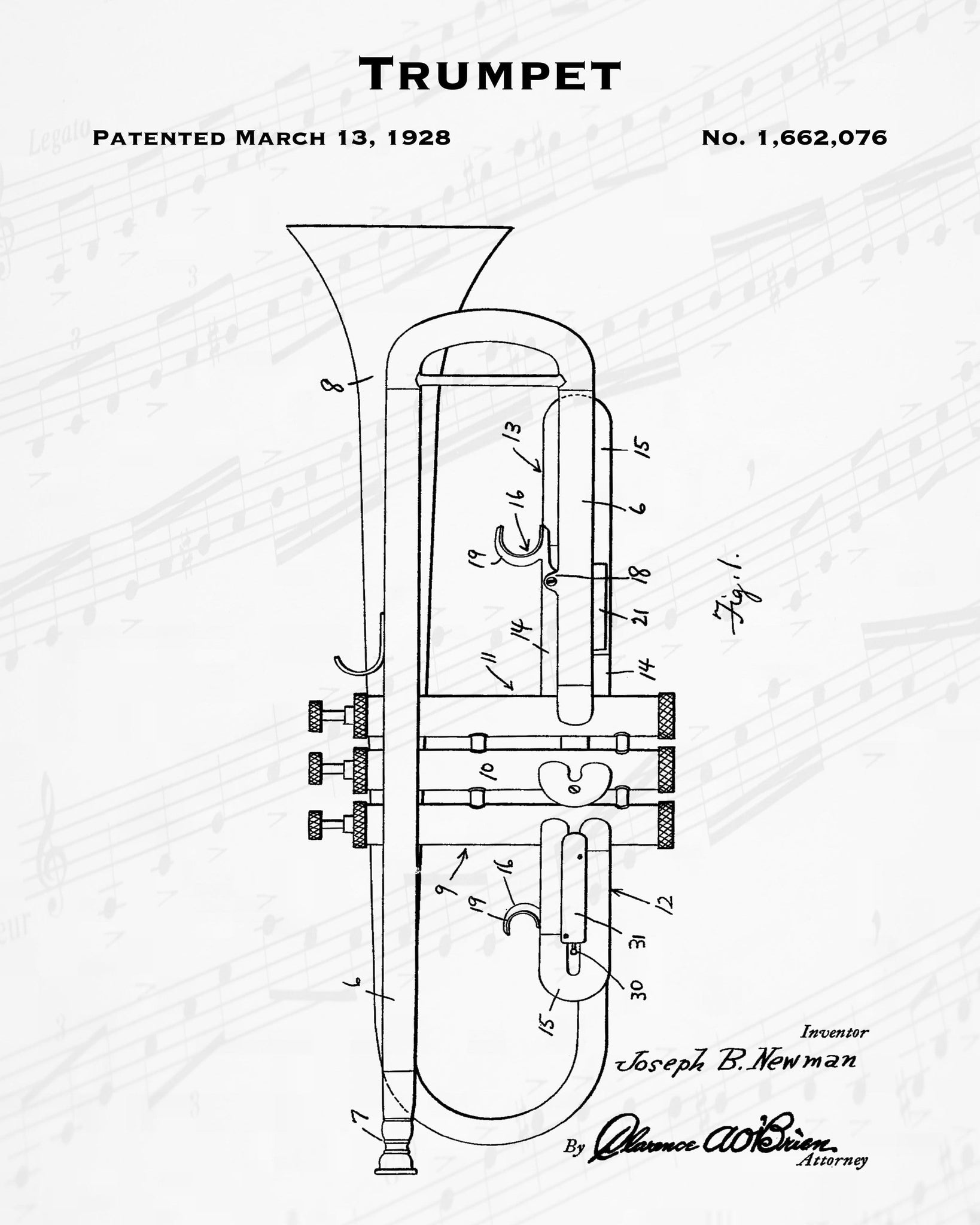 1928 Trumpet Patent - 8X10 Digital Download Patent