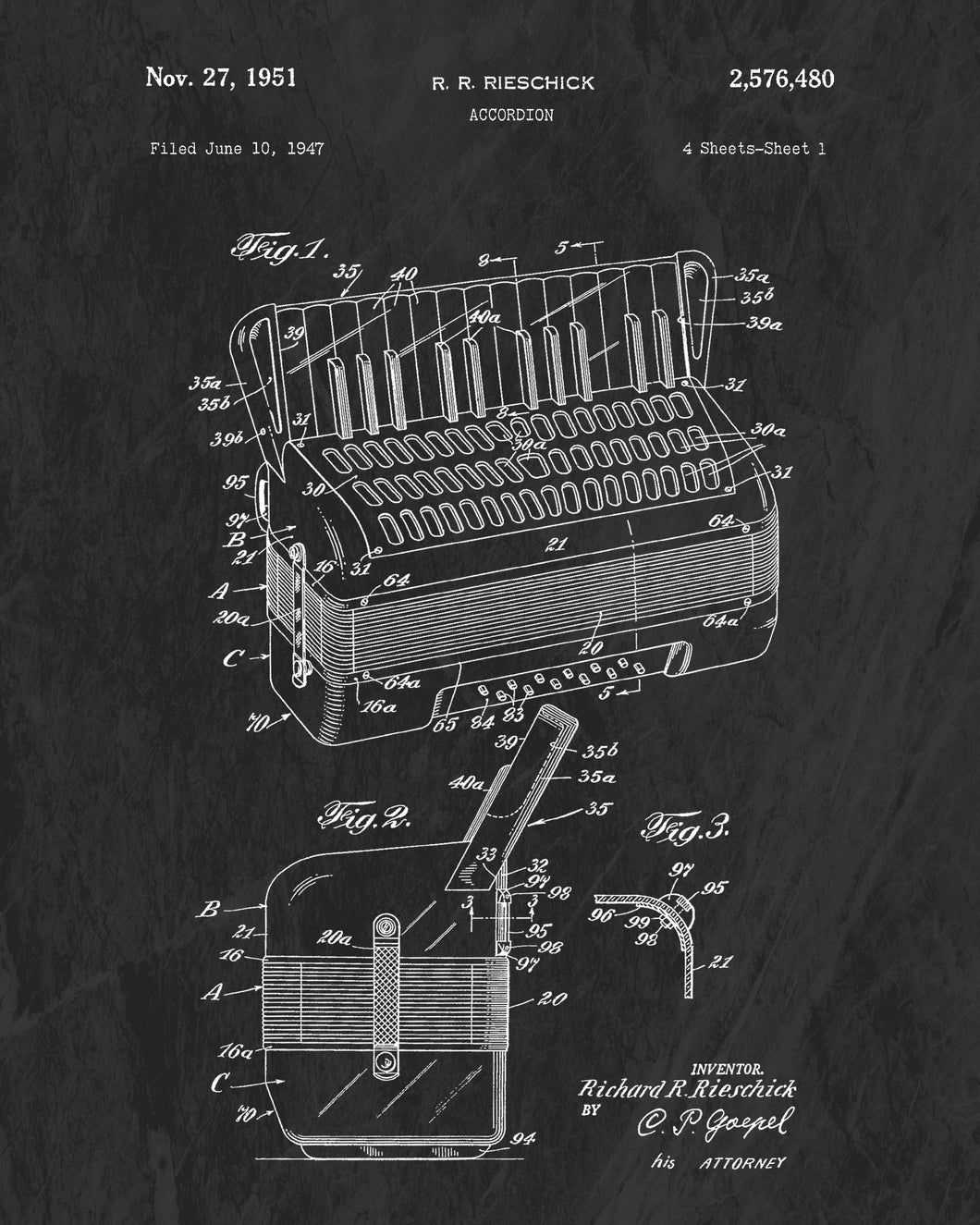 1951 Accordion Patent Art Print (Original Title)