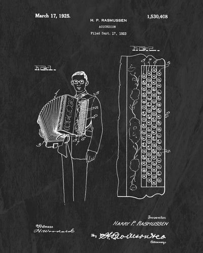 1925 Accordion Patent Art Print (Original Title)