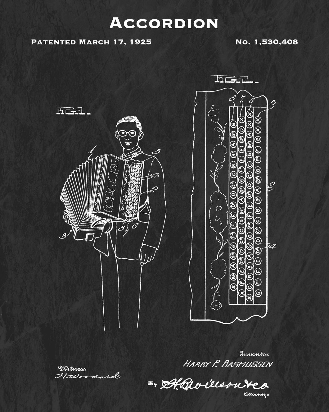 1925 Accordion Patent Art Print