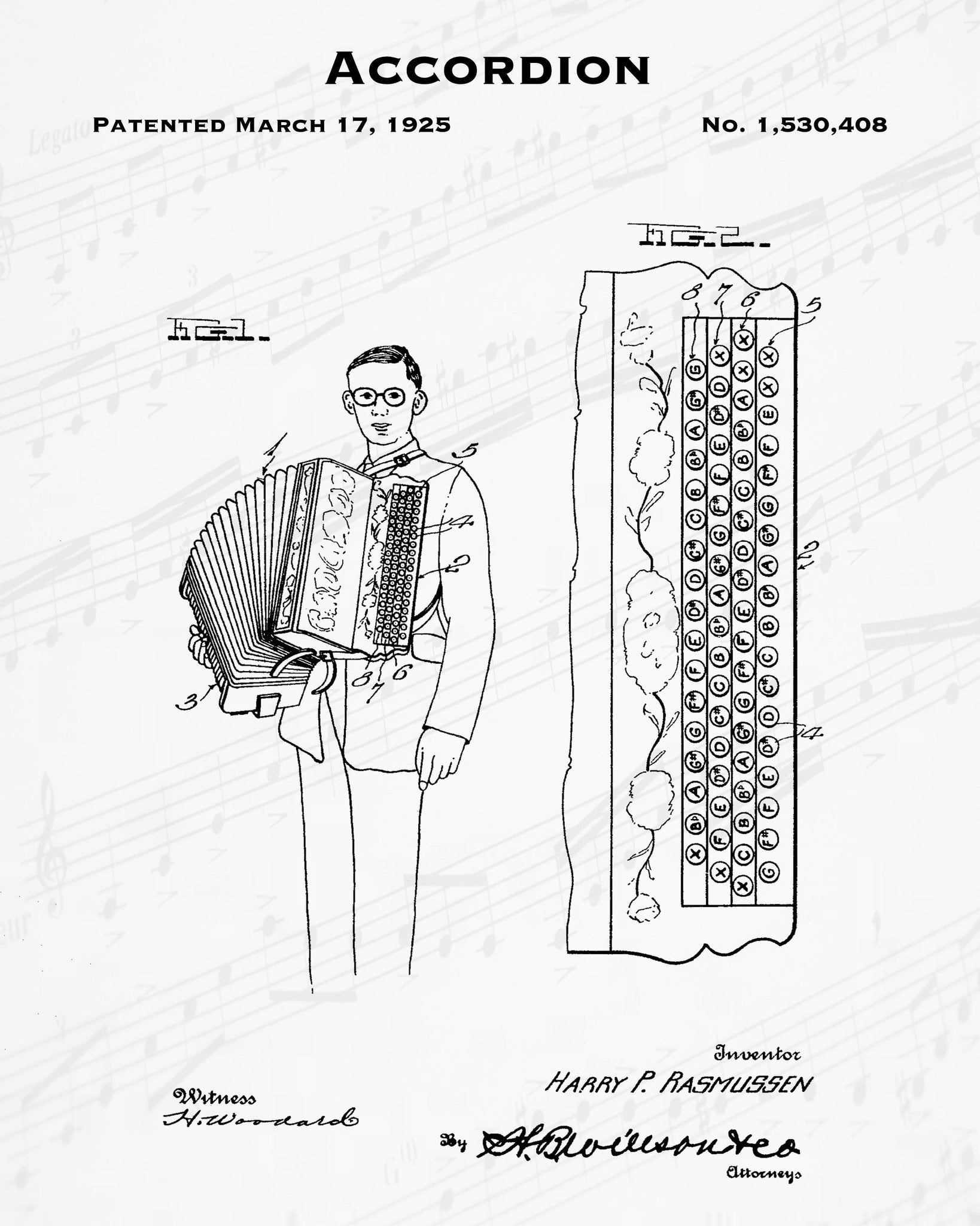 1925 Accordion Patent - 8X10 Digital Download Patent