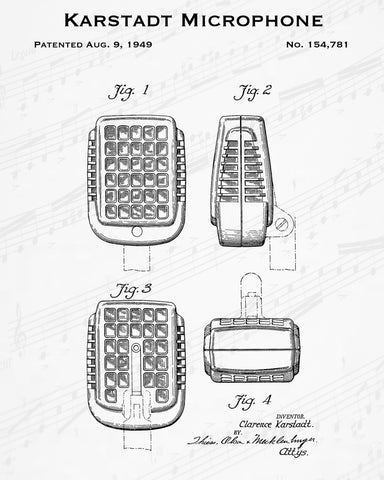 1949 Karstadt Microphone Patent - 8X10 Digital Download Patent