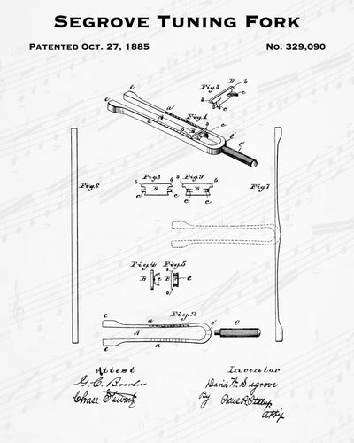 1885 Segrove Tuning Fork Patent - 8X10 Digital Download Patent