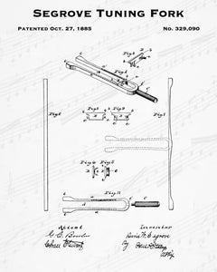 Segrove Tuning Fork Patent - Cheap Digital File - Quick Birthday Present - Music Lover Gift