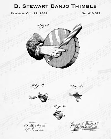 1889 B. Stewart Banjo Thimble Patent - 8X10 Digital Download Patent