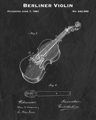 1881 Berliner Violin Patent Art Print