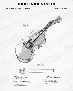1881 Berliner Violin Patent - 8X10 Digital Download Patent