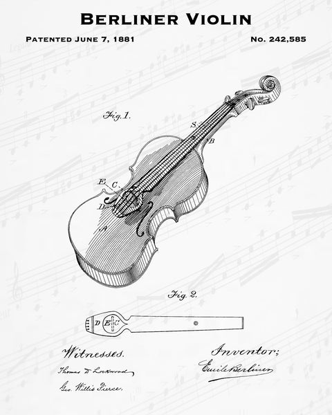 Berliner Violin Patent - Cheap Digital File - Quick Birthday Present - Music Lover Gift